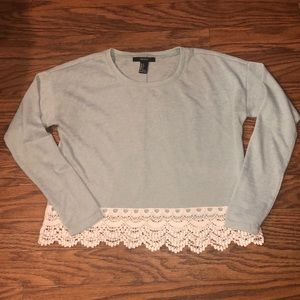 Aqua long sleeved lace trimmed Forever 21 crop top